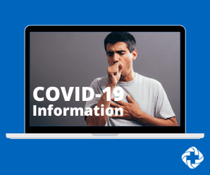 Man coughing with text overlay that says COVID-19 Information