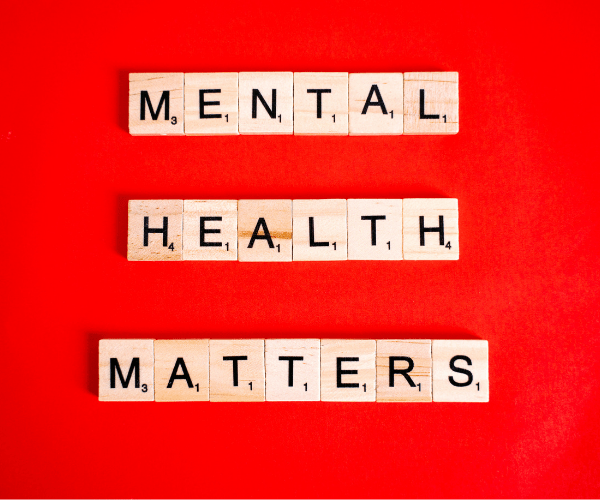 Scrabble letters that say Mental Health Matters